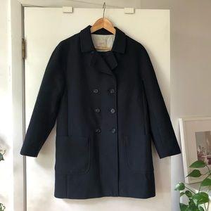 Loft Cotton Navy Pea Coat (Petite Medium)